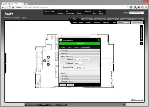 Configurazione radio con mappa per verificare la sovrapposizione della copertura