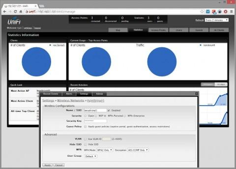 Statistiche grafiche client, configurazione wifi, tagging VLAN e selezione profilo cifratura