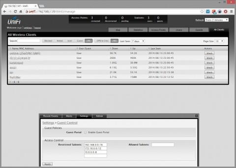 Elenco client e pagina principale per abilitazione guest client